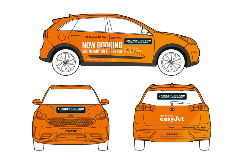 easyJet taxi vehicle wrap