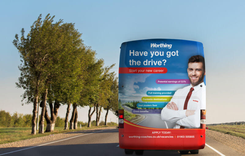 Recruitment bus wrap and brochures