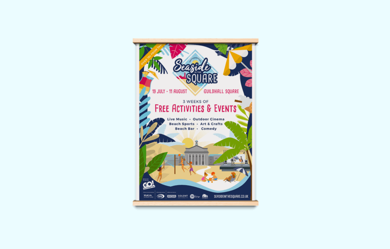 Seaside In The Square Poster Mock-up