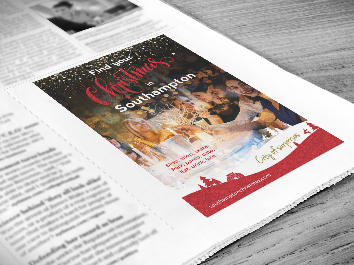 GO! Southampton | Christmas Campaign | Christmas Marketing | Print Advert | Advertising