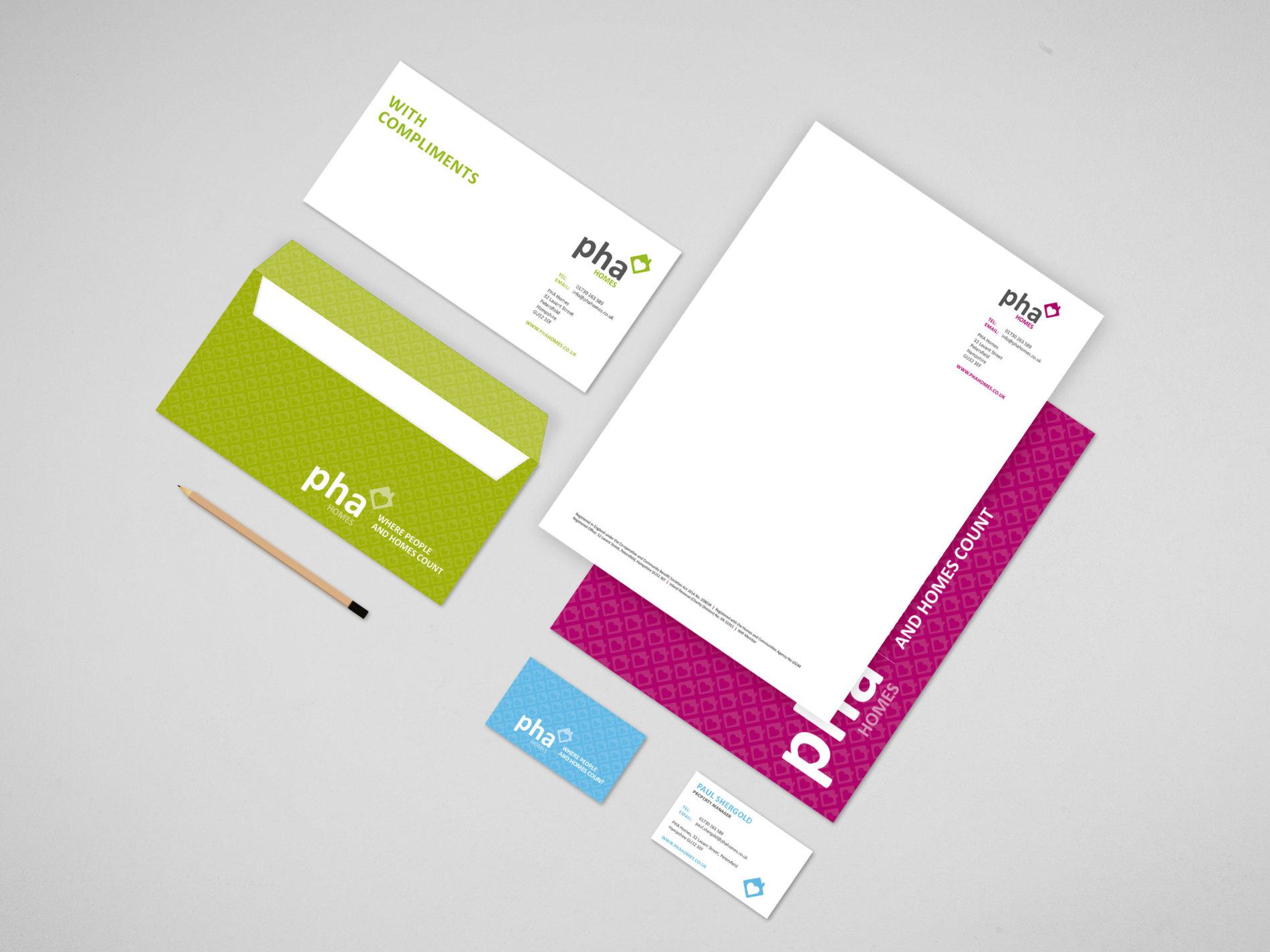 PHA Homes Branding Logo Design stationery
