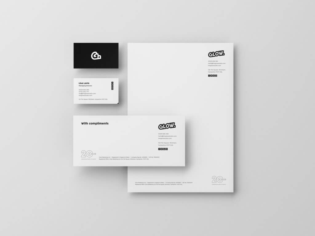 Glow rebrand stationery